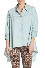 ONE TEASPOON Top Shirt XS 8 10 Chambray Sante Blue Oversize Trapeze Casual NEW