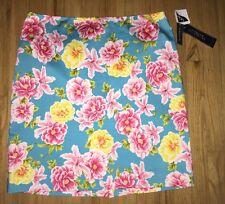 Jones New York Signature Pencil Skirt 14 Turquoise Pink Tropical Floral Print