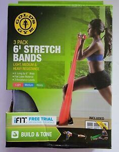 Brand New Gold's Gym 6' Stretch Bands 3 Pack Light Medium Heavy Resistance
