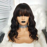 Brazilian Hair Body Wave #2 Color Full Lace Wig With Bangs Lace Front Wig Fringe