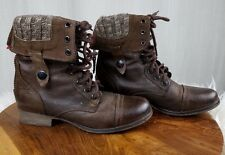 Steve Madden Boot Cablee Brown Distressed Leather Lace Up Combat Boot Women 5.5