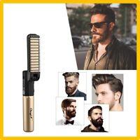 Peigne Brosse Electrique Rechargeable USB Lisseur Barbe Fer a Lisser Cheveux CE
