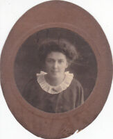 1910s Pretty young woman girl curled hair fashion old Russian antique photo