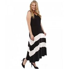 Plus Size Sleeveless Maxi Dress with Color Block Stripe Yummy Plus 1X