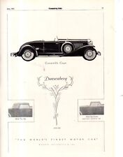 1931 Original Duesenberg Ad - Convertible Coupe - Extremely Rare