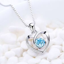 With Heart Romantic Chain Crystal For Silver Jewelry Women Pendant Necklace