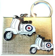 Gift Boxed Target Roundel Scooter Metal Keyring & Enamel Badge Set MOD Lammy