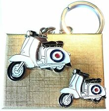 Gift Boxed Target Roundel Scooter Metal Keyring & Enamel Badge Set MOD Lammy