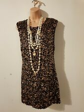NEW BLACK SEQUIN 20'S FLAPPER MINI DRESS SIZE 10 12 CHARLESTON GATSBY WOMEN'S