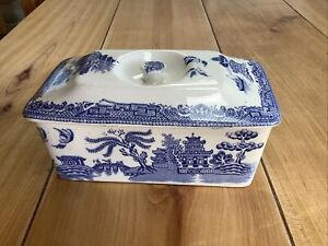 Vintage Willow Pattern Butter Dish Excellent Condition