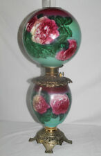 """Outstanding Hand Painted Gone with the Wind Oil Lamp with ROSES ~RARE 12"""" Shade"""