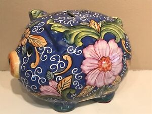 Vintage Blue Pig Piggy Bank - Retro Flower Design