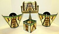 PartyLite Stained Glass Tealight Votive Set Of 6 Bankers Lamp, Wall Sconce Shade