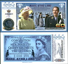 NEW POLYMER 2013 MARIE BYRD LAND 3/5 PENGUINO QEII/CORONATION FANTASY ART NOTE!