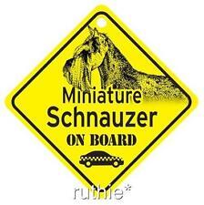 Miniature Schnauzer On Board Dog Window Sign Made in Usa