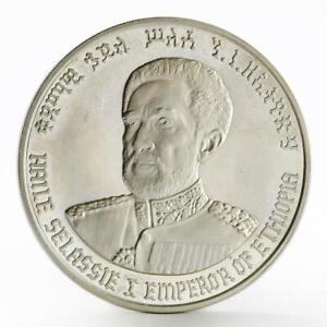 Ethiopia 10 birr Emperor Haile Selassie F-N rare silver coin 1972