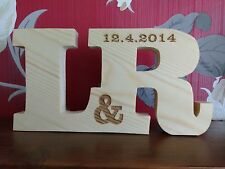 FREE STANDING LARGE WOODEN ENGRAVED PINE LETTERS personalised gift