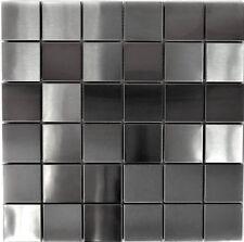 Mosaik silber Edelstahl gebürstet matt Fliesenspiegel Küche 129-48D |10Matten
