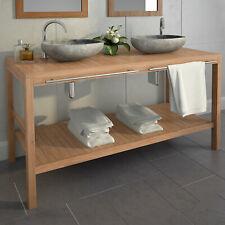 vidaXL Madera de Teca Maciza Mueble de Lavabo de Baño Tocador Armario Aseo