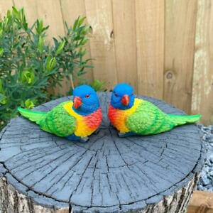 Rainbow Lorikeet Bird Figurine Statue Garden Ornaments Decor set of 2 Birds