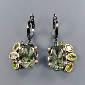 18x13mm Vintage SET Green Amethyst Earrings Silver 925 Sterling   /E57429