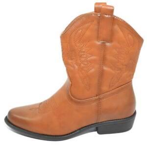 Stivaletto donna camperos texani cuoio corti alla caviglia con cuciture in rilie