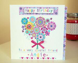 Flower girly birthday card pretty birthday card GIRLY special personalised card