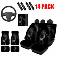 Horse Black Car Seat Covers Full Set Combo Floor Mats,Steering Wheel Cover etc.