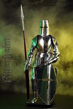 Ritterrüstung Ritter 190cm tragbar mit Lanze Kreuzritter silbern