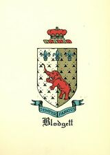 Great Coat of Arms Blodgett Family Crest genealogy, would look great framed!