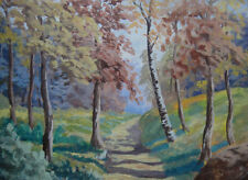 French artist, gouache. A sunlit path in the woods. Autumn c1930