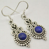 "925 Sterling Silver ROUND LAPIS LAZULI EXTRA ORDINARY Dangle Earrings 1.7"" NEW"