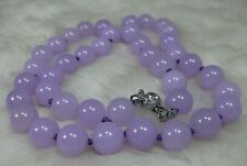 NATURE LAVENDER 10MM JADE BEADS JADEITE NECKLACE 18INCH AAA