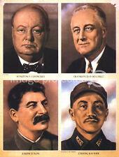 Vintage British WW2 Propaganda Poster Allied Leaders 18x24