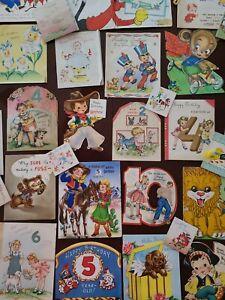 53 Vtg Birthday Greeting Card Diecut Animals Boys Girls Scrapbook Lot 40-50s