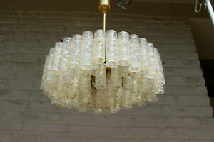 Mid century LARGE Murano glass tubes levels Chandelier pendant DORIA 1960s
