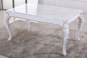 Esstisch, Küchentisch, Tisch Silber Dekor Creme Weiß Hochglanz