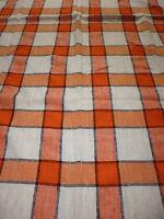 ancien tissu textile nappe lin vintage carreaux orange 180x140 cm