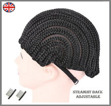 Stretchable Cornrow Braided Wig Cap For Crochet With Adjustable Straps & Combs