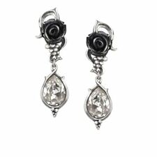 Alchemy Gothic Bacchanal Rose Pewter Pair of Earrings BRAND NEW