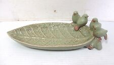 """Vintage Green Pottery Candy Dish Bowl 10"""" Long Cabbage Leaf With 4 Birds On Edge"""