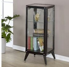 Black Curio Cabinet Display Case With Glass Doors for Collectibles Metal 3 Shelf