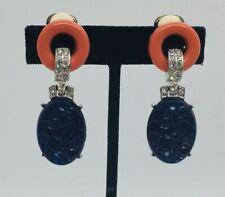 KJL Kenneth Lane Vintage Rhodium Plated Blue Resin Clip Dangle Earrings