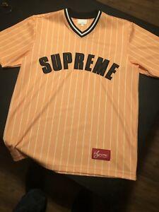 Supreme Pinstripe Baseball Jersey Size M Ss17 Orange