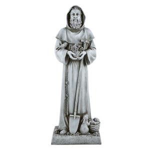 "24"" Saint Fiacre Statue Patron of Gardeners Stone Resin"