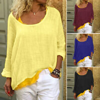 ZANZEA Women Scoop Neck Shirt Tops Asymmetrical Hem Blouse Oversize Plain Tops