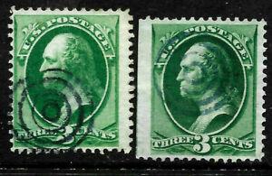 """Fancy Cancels """"Blue-Black Target"""" Collection 3 Cent Washington 1871-1883 US A90"""