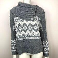 f4e83cd7d Free People Womens Small Ragnar Sweater Fair Isle Split Neck Grey White Wool