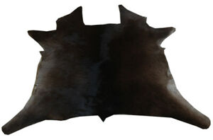"Rare Cowhide Rugs Calf Hide Cow Skin Rug (22""x26"") Brownish Black CH8137"