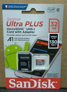 SanDisk Ultra PLUS 32GB microSDHC UHS-I Card with Adapter - NEW, Sealed! - A117